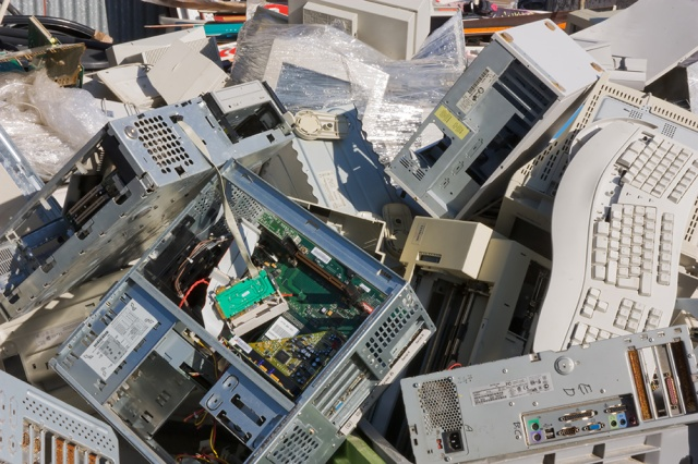 heap of old electronic equipment to recycle